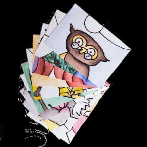 Postkarten Tierillustrationen